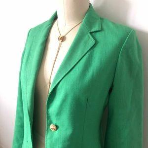 Vintage Lime Green Linen Blazer Size Small